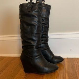 Rampage black slouch wedge boots